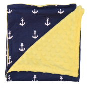 Unique Baby Trendy Blanket with Straight Edges Anchor Print Yellow
