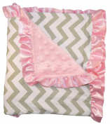 Unique Baby Trendy Blanket with Satin Ruffle Edges Chevron Print Grey