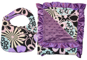 Unique Baby Bib and Blanket Gift Set Ruffled Edge Floral Print Purple