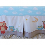 Little Acorn F13B03 Baby Owls Crib Skirt