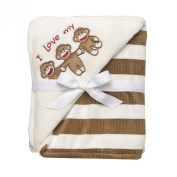 Sock Monkey Ultra Plush Blanket Ivory