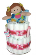 Sunshine Gift Baskets - Pink Nappy Cake Gift Set with a Rag Doll