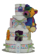 TIE DIE TEDDY 3 or 4 TIERS Nappy Cake