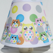 Multicoloured Owl Night Lights with Polka Dots / Owl Nursery Decor