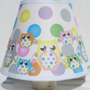 Multicoloured Owl Night Lights with Polka Dots / Owl Nursery Decor