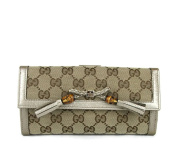 Gucci Beige GG Canvas Bamboo Tassel Continental Wallet 269981 8612