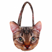 Digital Graphic Cat Face Head Indian Handbag - Dupion Faux Silk - All-Over Print - 12 x 30cm x 60cm