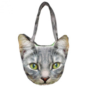 Indian Digital Graphic Cat Face Handbag - All-Over Print - Polyester Dupion Faux Silk - 12 x 30cm x 60cm