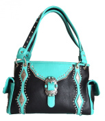 black blue turquoise belt buckle rhinestone concho western cowgirl handbag purse bag
