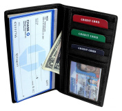 Enimay Men's Women's Chequebook Wallet Genuine Leather Credit Card Holder Unisex