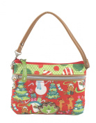 Lily Bloom Amber Wristlet Bag, Red Snowman