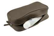 Lucrin - Small toilet bag - Dark Taupe - Smooth Leather