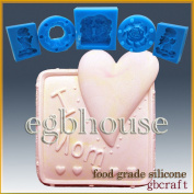 I Love Mom Square- Detail of High Relief Sculpture - Silicone Soap/sugar/fondant/chocolate/marzipan 2d Mould