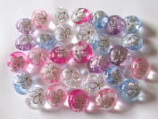 usausa shops floral-filled ornament button of (rhinestone-filled shank button) 30 pieces