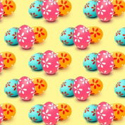 Easter Eggs on Light Yellow Holiday Wrapping Paper - 1.8m Roll