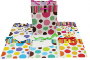 12 Pc Small Stripes & Dots On Matte, 6 Designs Gift Bag L 11cm X W 6.4cm X H 14cm