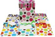 12 Pc Small Stripes & Dots On Matte, 6 Designs Gift Bag L 11cm X W 6.4cm X H 14cm