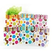 12 Pc Medium Stripes & Dots On Matte, 6 Designs Gift Bag L 19cm X W 10cm X H 23cm