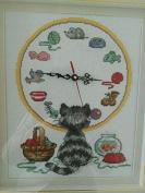 Cat and Clock Counted Cross Stitch,suzuki Clock ,Dmc Thread ,14ct 52x45cm Clock Cross Stitch Kits