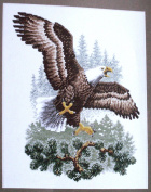 "Counted Cross Stitch Kit ""Landing Eagle"" 23cm x 27cm"