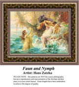 Faun and Nymph, Hans Zatzka Counted Cross Stitch Pattern
