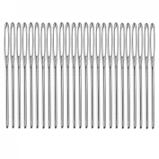 Blunt Stringing NeedleS, YIFAN 25Pcs 6cm Long 17mm Silver Tone Steel Sewing Needles-Silver