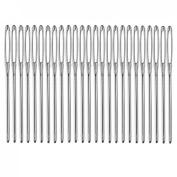 Blunt Stringing NeedleS, YIFAN 25Pcs 6cm Long 17mm Silver Tone Steel Sewing Needles-Silver