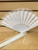 12 Sparkle IVORY Organza Bag for Hand Fan Wedding Party Favour(FANS NOT INCLUDED) / Folding Fan Bags/ Wedding Fan/ Dancing Fan / wedding favour /wedding fan/ 7.6cm x 25cm