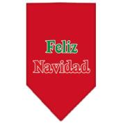 Mirage Pet Products Feliz Navidad Screen Print Bandana for Pets, Large, Red