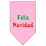 Mirage Pet Products Feliz Navidad Screen Print Bandana for Pets, Large, Light Pink
