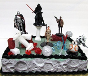 STAR WARS 22 Piece Birthday Cake Topper Featuring 6 Star Wars Figures and Decorative Themed Accessories