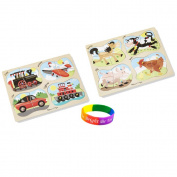 Melissa & Doug 4-in-1 Peg Farm and Vehicles Puzzle with Dimple Bracelet