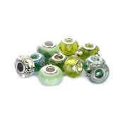 BRCbeads Top Quality 10Pcs Mix Silver Plate GREEN THEME Murano Lampwork European Glass Crystal Charms Beads Spacers Fit Pandora SnTroll Chamilia Carlo Biagi Zableake Chain Charm Bracelets.