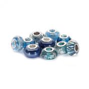 BRCbeads Top Quality 10Pcs Mix Silver Plate BLUE ZIRCON THEME Murano Lampwork European Glass Crystal Charms Beads Spacers Fit Pandora Troll Chamilia Carlo Biagi Zable Snake Chain Charm Bracelets.
