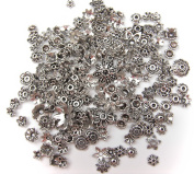 ALL in ONE 60 Gramme/350pcs Mixed Antique Silver Plated Tibetan Style Filigree Flower Cup Shape Bead Caps Charms Jewellery Findings-Flower Cup Beads 350pcs