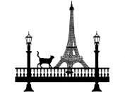 Paris Cat 10cm - Black 15CC503 Fused Glass Decals