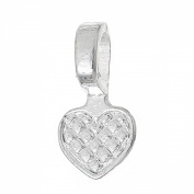 Rockin Beads Brand, 50 Glue on Heart Bails Pendant Hanger Silver Plated 22x10mm