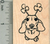 Saint Patrick's Day Dachshund Rubber Stamp, Dog with Shamrock Antennae