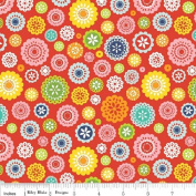 1 Yard Lazy Day by Lori Whitlock from Riley Blake 100% Cotton Quilt Fabric C3813 Red Flowers