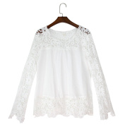 Chen Women White Sheer Sleeve Embroidery Top Blouse Lace Crochet Chiffon Shirt