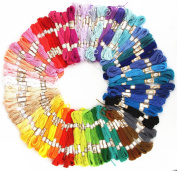 RayLineDo® Embroidery Thread 100 PCS Skeins Stranded Deal Embroidery Threads Embroidery Floss Threads, 50 x Assorted Coloured Skeins