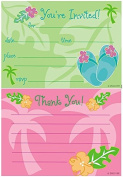 Tropical Palm Tree Fill-In Party Invitations (8) with Coordinating Thank You Cards (8) Bundle