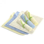 SillyMonkeys Baby Washcloths - 6 Organic Bamboo Reusable Wipes - Extra Soft, Super Absorbent and Perfect for Sensitive Skin - Ideal Shower Gift