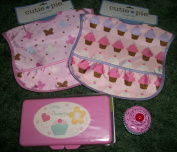 2 Cutie Pie Vinyl Free Bibs,Pink Baby Wipe Holder{Always Pink but Design may vary} Bath Water Tester Cupcake