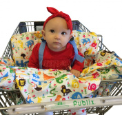 Baby Shopping Cart Cover & High Chair Cover, Comfortable & Safe with Adjustable Safety Straps, Machine Washable, Animal Print Design