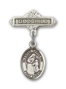ReligiousObsession's Sterling Silver Baby Badge with Blessed Caroline Gerhardinger Charm and Godchild Badge Pin