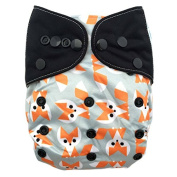 "HappyEndings ""Night, Night""» Charcoal Bamboo All In One Nappy (+Pocket & 5 Layer Charcoal Bamboo Insert) ""Foxy"""