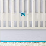 Serena & Lily Banded Linen Crib Skirt - Chambray/Cyan