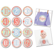 Sticky Bellies Monthly Baby Stickers for First Year Growth Photos - Garden Party 1-12 Months