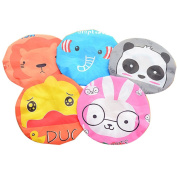 2pcs Stylish Cartoon Pattern Design Mould Resistant Waterproof Bath Cap Shower Cap